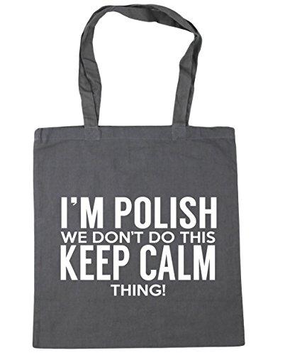HippoWarehouse I 'm polaca que no hacer esto lo Keep Calm bolsa de la compra bolsa de playa 42cm x38cm, 10litros gris grafito