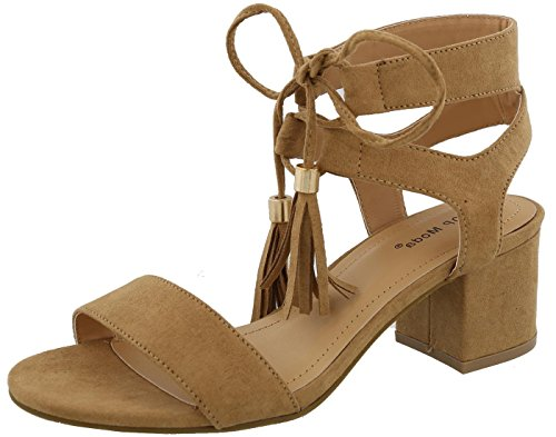 Top Moda Women's Tassel Stacked Block Heel Gladiator Sandal (9 B(M) US, Tan)