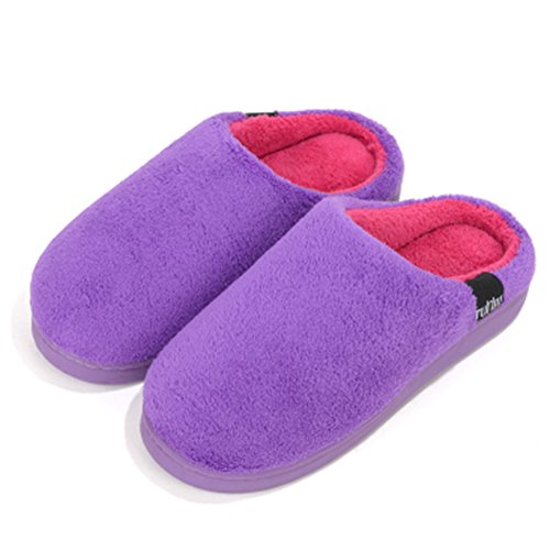 for Foam Purple Wyhweilong Men Fleece Memory Warm amp; Slippers House Women Winter Coral Soft xxzOnIH