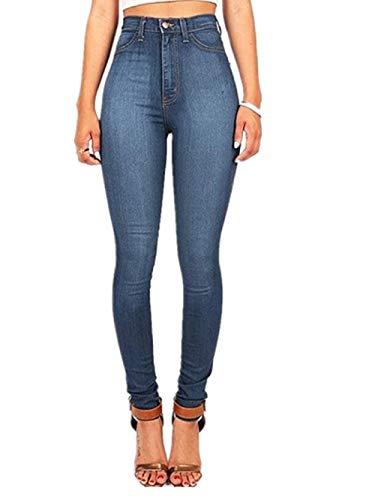 Alta Slim Fit M Donna Pantaloni Scuro Eleganti Dimensione Jeans Vita Fuweiencore colore Blu 0BRq5