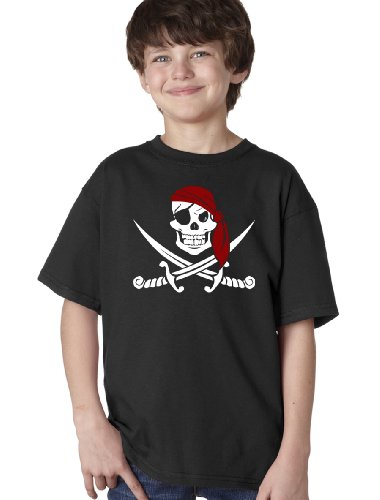 JOLLY ROGER PIRATE FLAG TEE Youth Unisex T-shirt / Skull and Crossbones Sparrow T