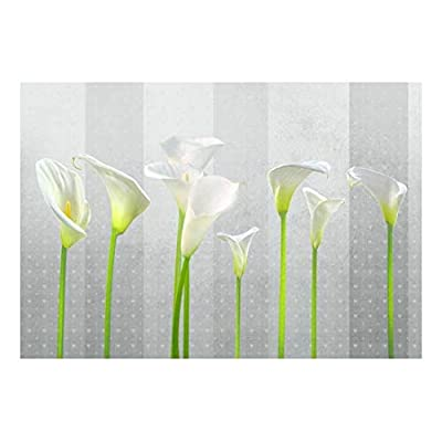 Premium Creation, Marvelous Visual, Arum Lilies with Gray Striped Heart Textured Background Wall Mural
