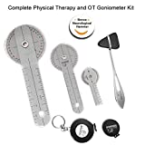 occupational therapy tool kit - Goniometer Physical Therapy Complete Set W/Bonus Reflex Hammer Including 12,8,6 Inches Goni's Plus Two Bonus Measuring Tapes. Occupational Therapy Tools. Ideal for Clinical or Home Rehab