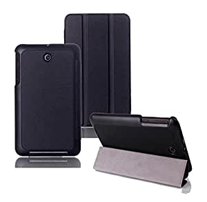Tsmile® Premium Luxury Slim Magnetic Smart Cover Stand Folding Folio Leather Case for Asus MeMO Pad 7 ME176CX-A1 (Tri-fold Black)