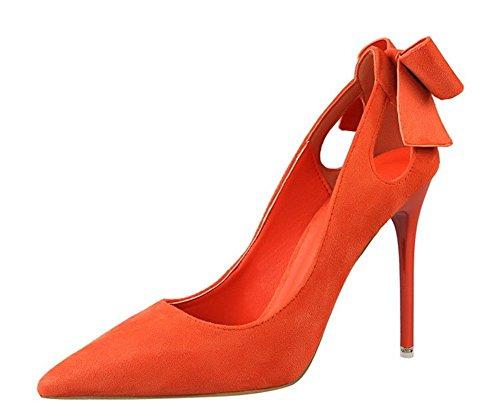 Haute Mode Noeud Club Bout Soirée Chaussure Escarpin Mariage CM Sexy Pointu Talon Suédé Orange 10 Aiguille Femme 5 wealsex 6wZYEqAx