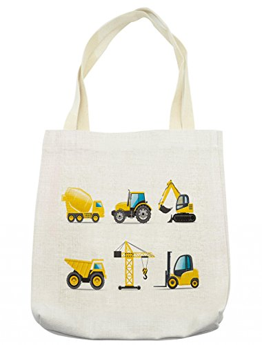 Lunarable Boy's Room Tote Bag, Cartoon Style Heavy Machinery Truck Crane Digger Mixer Tractor Construction, Cloth Linen Reusable Bag for Shopping Groceries Books Beach Travel & More, Cream (Tractor Gift Bag)