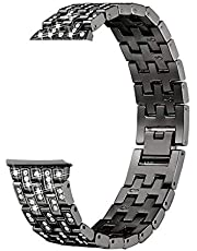 Lyperkin Compatible with Fitbit Versa,Fashion Classic Luxury Alloy Crystal Stainless Steel Strap Watchband Strap Bracelet Bands Wristband Replacement Band Strap Comaptible with Fitbit Versa.