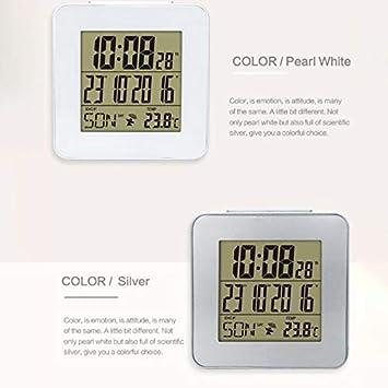 PQZATX Despertador Controlado por Radio Global con Term/ómetro de Interior Tiempo Dormitar Estaciones Meteorol/ógicas Digita Lenguaje Opcional Plata