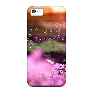 Waterdrop Snap-on Pink Flowers And Bubbles Cases For Iphone 5c