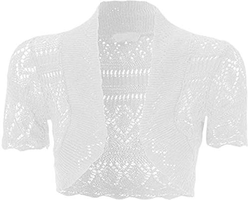 Loxdonz Girls Kids Short Sleeve Crochet Knitted Bolero Shrug Top Cardigan Shrug (7-8 Years, White)