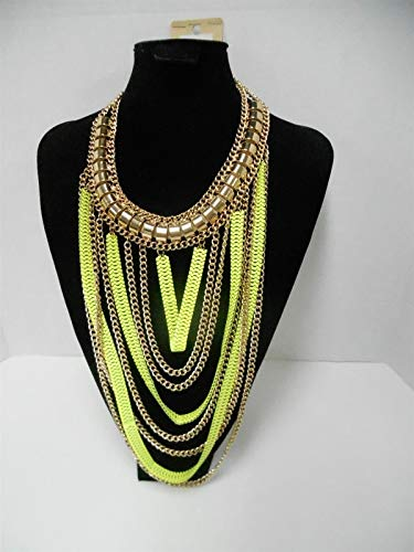 Gold Tone Lime Green STATMENT BIB Necklace for sale  Delivered anywhere in USA
