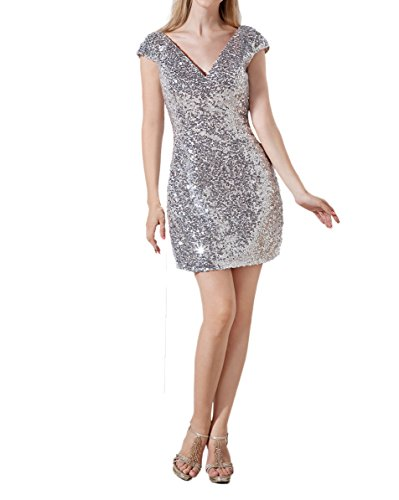 DKBridal Cocktail Prom Neck V Homecoming Dress Gown Silver Party Women's Sequins Short qXrnXxawS