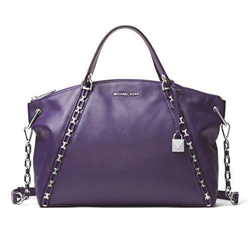 Michael Kors Back Zip Satchel - MICHAEL Michael Kors Sadie Leather Large Top Zip Satchel in Iris