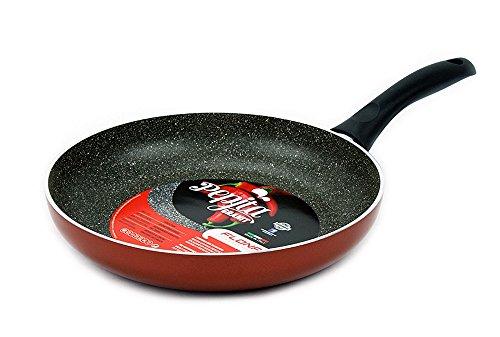 "Excelife Flonal Cookware Pepita Granit Fry Pan, 11"", Red"