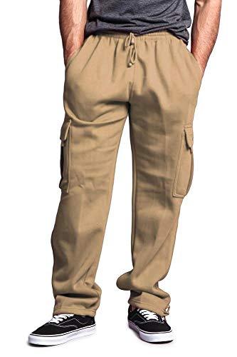 G-Style USA Men's Solid Fleece Cargo Pants DFP2 - Khaki - Sm