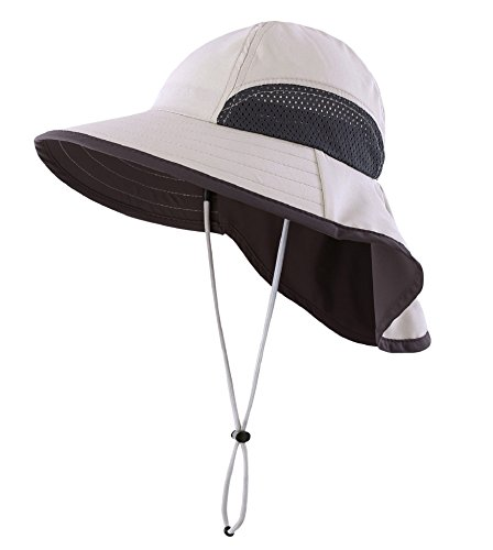 Connectyle Kids Summer Wide Brim UPF 50+ Mesh Sun Hats with Neck Flap UV Sun Protection Bucket Hat Gray