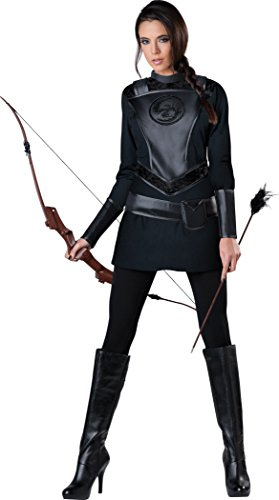 InCharacter Costumes Women's Warrior Huntress Costume, Black, Medium -