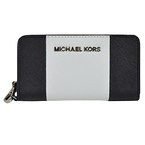 728901cab69c MICHAEL Michael Kors Jet Set Center Stripe Multifunction Phone Wristlet in  Black and Optic White - Buy Online in Oman.