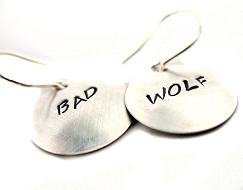 Silver Doctor Who Inspired Earrings - Bad Wolf - Handcrafted, Hand Stamped Jewelry by Foxwise