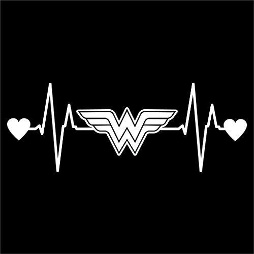 Wonder Woman Heartbeat Vinyl Decal Sticker | Cars Trucks Vans Walls Laptops Cups | White | 7.5 X 2.8 Inch | KCD1177