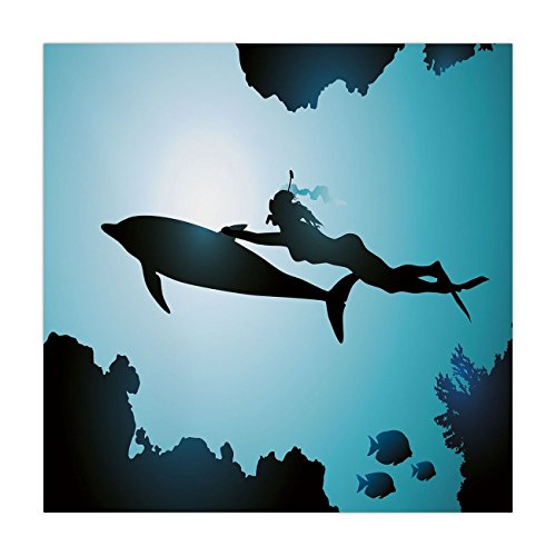 Satin Square Tablecloth,Dolphin,Scuba Diver Girl Swimming with Dolphin Silhouette in Sea Fish Reefs Image,Pale Blue Black,Dining Room Kitchen Table Cloth Cover ()