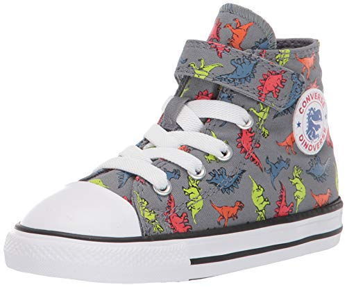 Converse Baby Chuck Taylor All Star Dinosaur Print High Top Sneaker, Cool Grey/Black/White, 6 M US Toddler (6 Size Converse Shoes)