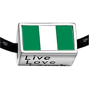 Chicforest Silver Plated Nigeria flag Photo Live Love Laugh Charm Beads Fits Pandora Biagi Troll Chamilia Kay's Beads Charms