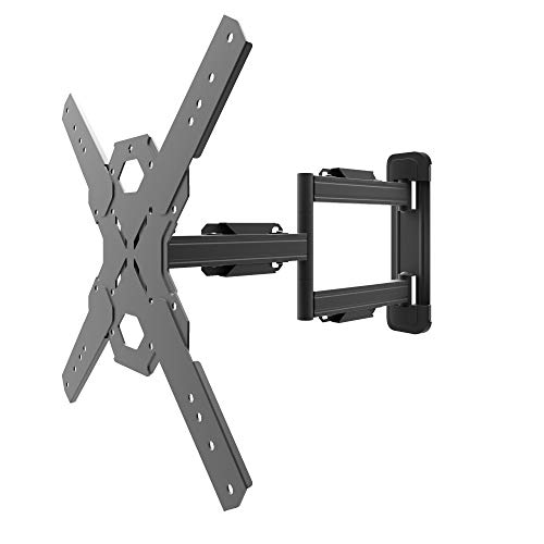"Kanto PS300 Full Motion Flat Panel TV Mount — Fits ¬26"" to 60"" Monitors — Single Stud Wall Plate — Solid Steel Construction — For Square VESA Patterns 100x100/200x200/300x300/400x400 (Flat Panel Single Small)"