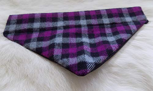 Purple Plaid Flannel Over the Collar Dog Bandana Large