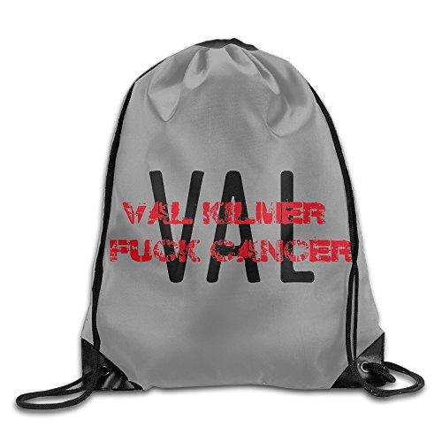 Val Kilmer Fuck Cancer Gym Bag Drawstring Sport Bag One Size White (Angel Tombstone)