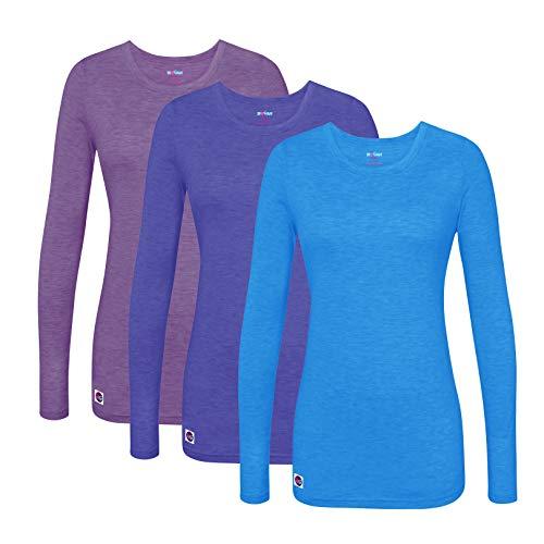 (Sivvan 3 Pack Women's Comfort Long Sleeve T-Shirt/Underscrub Tee - S85003 - HPPR - M)