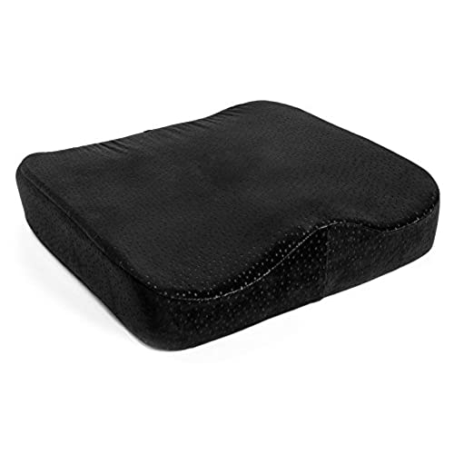 Beau Aeris Memory Foam Seat Cushion   Premium Large Office Chair Pad With A  Buckle To Prevent Sliding   Car Seat Cushion With Machine Washable Black  Plush Velour ...