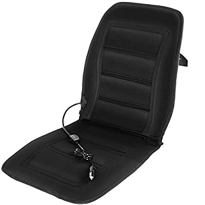 Motorup America 12V Heated Auto Seat Cover Cushion - Soft Velour Ultra Plush Warmer with High/Low/Off Heater Temperature Switch Control Heat - Black