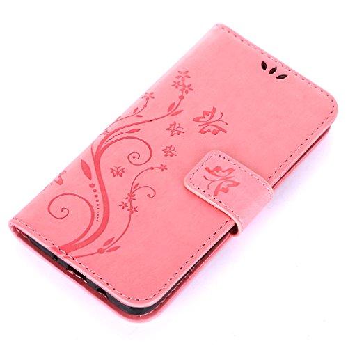 Yiizy Samsung Galaxy J5 Prime / G570 Custodia Cover, Erba Fiore Design Sottile Flip Portafoglio PU Pelle Cuoio Copertura Shell Case Slot Schede Cavalletto Stile Libro Bumper Protettivo Borsa (Rosa)