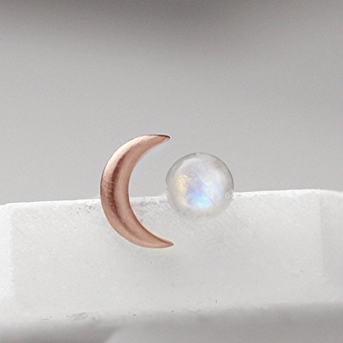 Rose Gold Moonstone Earrings Crescent Moon Earrings With Rainbow Moonstone Stud Earrings For Women Sterling Silver