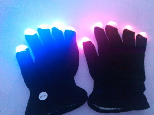 Firefly LED with Colorful Flashing Light-emitting Dancing Gloves Black