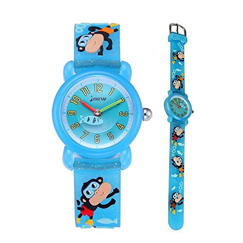 Eleoption Waterproof Kids Watch for Girls Boys Time Machine Analog Watch Toddlers Watch 3D Cute Cartoon Silicone Wristwatch Time Teacher for Little Kids Boys Girls Birthday Gift (Monkey-Light Blue)