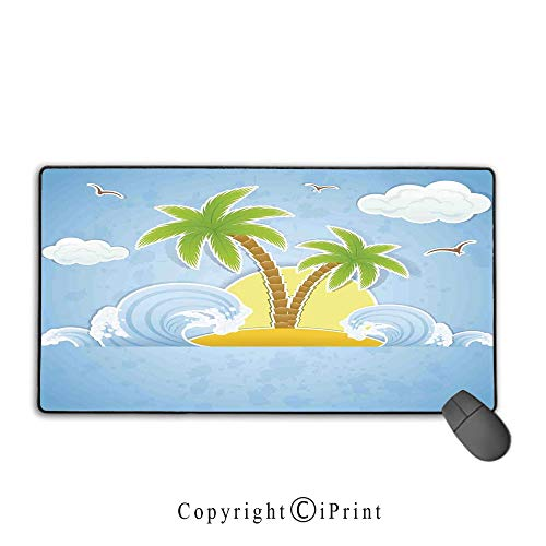 - Mouse pad with Lock,Ocean,Illustration of Tropical Island with Palm Trees Waves and Clouds in The Ocean Print,Navy Yellow Green,Ideal for Desk Cover, Computer Keyboard, PC and Laptop,15.8