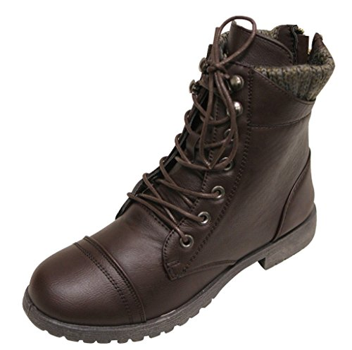 Bonnibel Bruno-3 Women's round toe lace up PU high top zip closure woven padded collar booties Brown (Bruno Womens Shoes)
