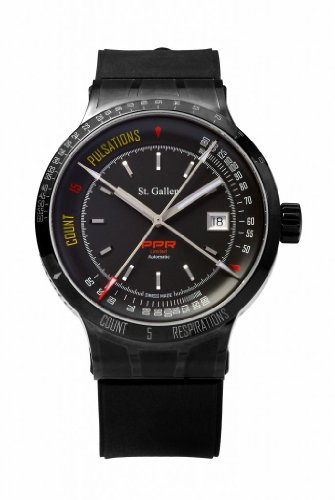 St. Gallen Disinfectable Watch - PPR Collection - Mechanical Automatic Watch, Counters For Pulsation & Respiration Calibration, Matt Black Dial
