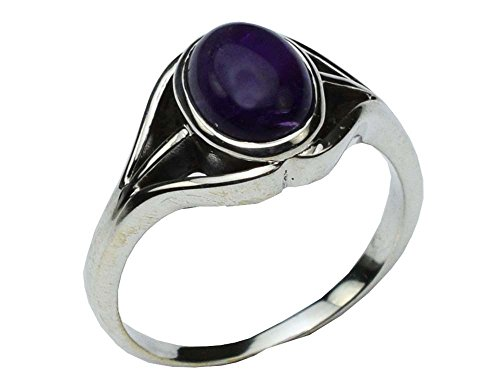 AMETHYST OVAL 925 STERLING SILVER RING UK SIZE R 1/4 APPROX. WITH GIFT BOX