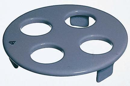 CoorsTek 60446 Porcelain Ceramic Desiccator Plate for Crucibles with 3 Feet, 5 Holes, 142mm OD