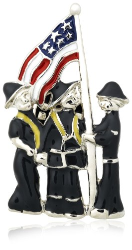 Three Firemen with American Flag Pin by Margot Townsend
