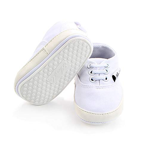 (NOVCO Unisex Baby Sneakers Boys Girls Anti-Slip First Walkers Canvas Shoes 0-18Months (12-18 Months, White))