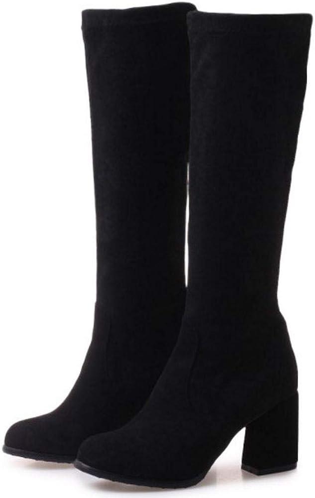 Zuverlässig Fast Express Top Qualität COOLCEPT Langer Damen-Stiefel mit Blockabsatz, zum Überziehen Schwarz Q3pfH elKQ7 dlrPp