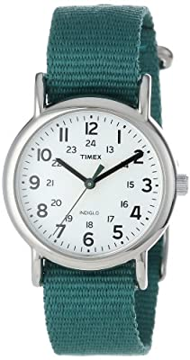 "Timex Women's T2N915 ""Weekender"" Green Nylon Strap Watch"