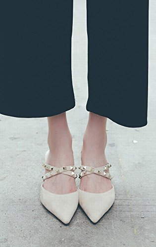 Mulei Femme Sandales Pointu 39 des Abricot Chaussures Chaussures Fines à avec Femme Talon Rivets DHG Baotou avec des CpcqtT6ZOZ