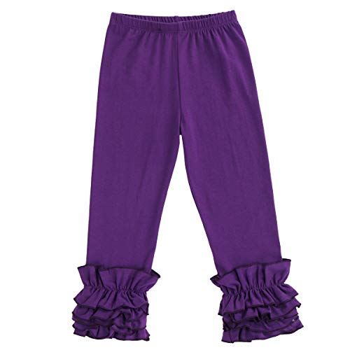 (Little Big Girl Icing Ruffle Pants Boutique Ruffle Leggings Cotton Trousers Activewear Playwear Birthday Party Purple 2-3)