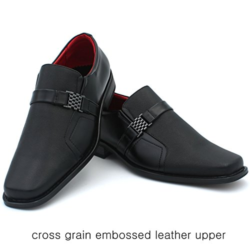 BW Mens Slip On Dress Shoes Loafers Cross Grain Embossed Man Made Leather Formal Casual Classic Square Toe ovKw7m59T