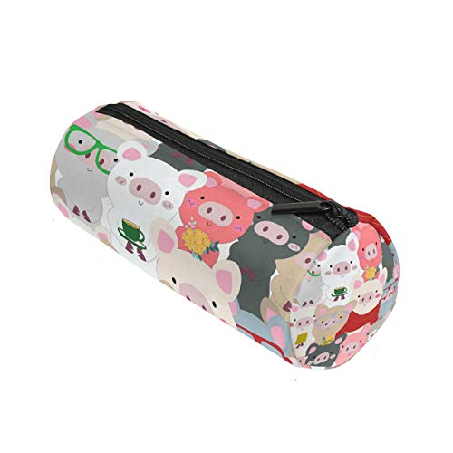 ALAZA Cartoon Pig Blue Grey Animal Pencil Pen Case Pouch Bag with Zipper for School Stationery Office Supplies